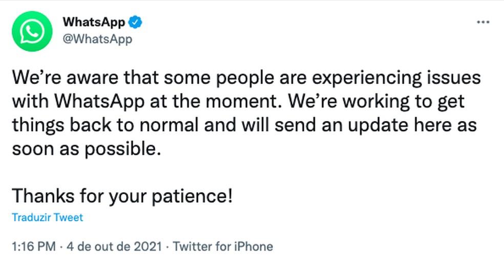 Comunicado oficial do WhatsApp no Twitter — Foto: Reprodução/TechTudo