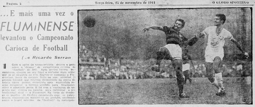 """Título do Fluminense nas páginas do """"O Globo Sportivo"""" de 25/11/1941 — Foto: Reprodução / O Globo Sportivo"""