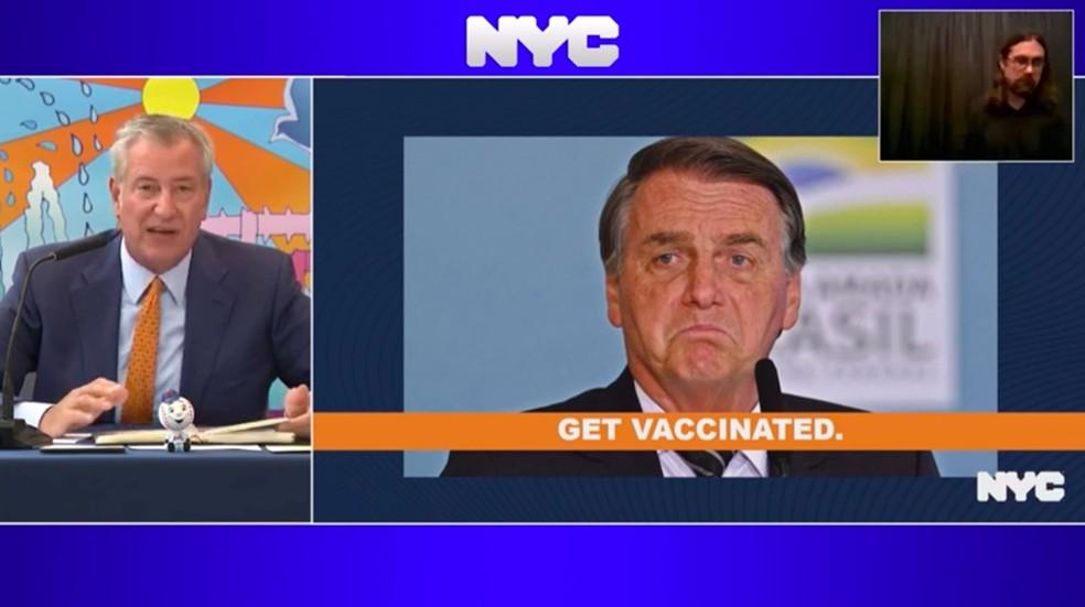 Pronunciamento do prefeito Bill de Blasio, de Nova York, em 20 de setembro de 2021 — Foto: Reprodução/Prefeitura de NY