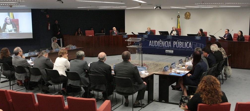 Audiência pública no Supremo Tribunal Federal discute a descriminalização do aborto  (Foto: Carlos Moura/SCO/STF)