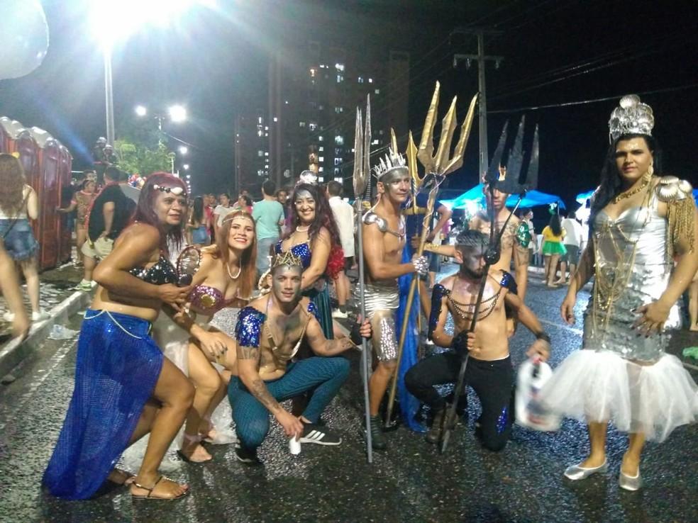 Grupo se fantasiou com o tema Aquaman para o Corso de Teresina 2019 — Foto: José Marcelo/G1