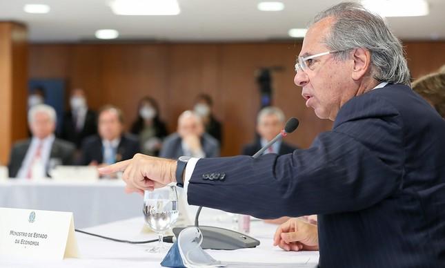 O ministro Paulo Guedes na reunião ministerial de 22 de abril