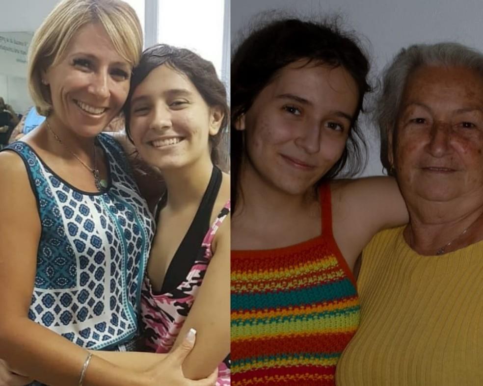 Silvia Helena e Maria dos Santos, mãe e avó da jovem, são as maiores incentivadoras — Foto: Arquivo Pessoal
