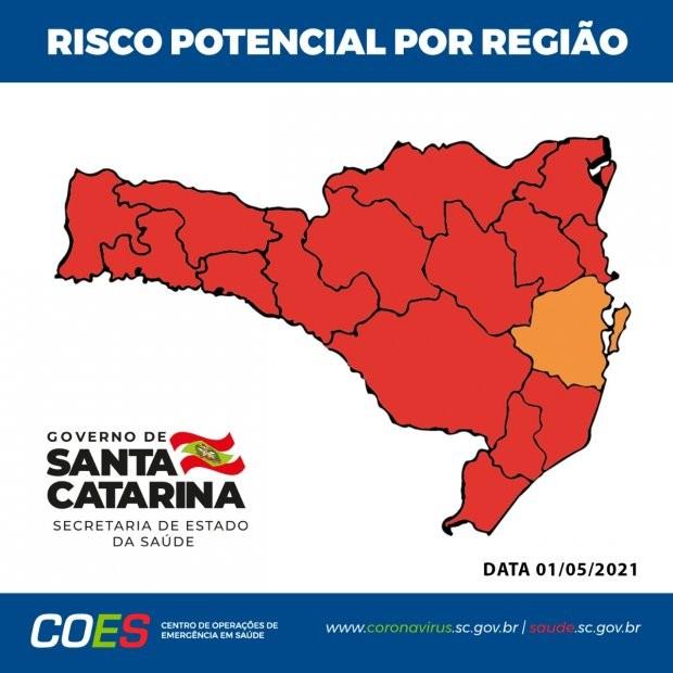 Mapa de risco da Covid: SC tem 15 das 16 regiões em nível gravíssimo