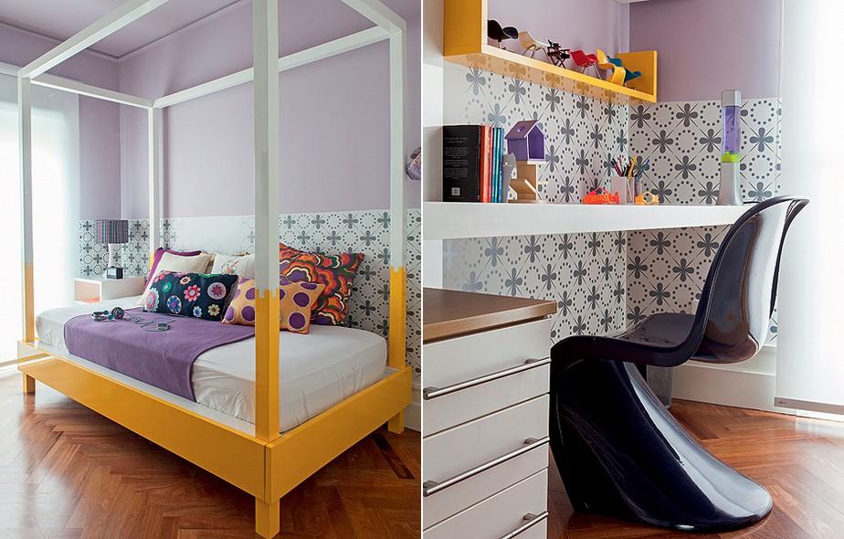 A cama colorida com dossel é a grande atração do quarto de Victória, 13 anos. Para contrastar com o amarelo, a parede foi pintada de lilás – opção mais adulta ao rosa – e revestida com adesivo desenhado pela arquiteta Andrea Murao