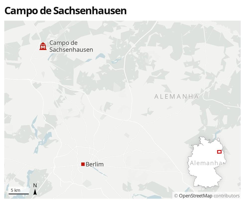 Mapa indica a localização do Campo de Sachsenhausen, próximo a Berlim — Foto: G1 Mundo
