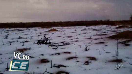 Chove granizo em Parambu, no sertão cearense; vídeo