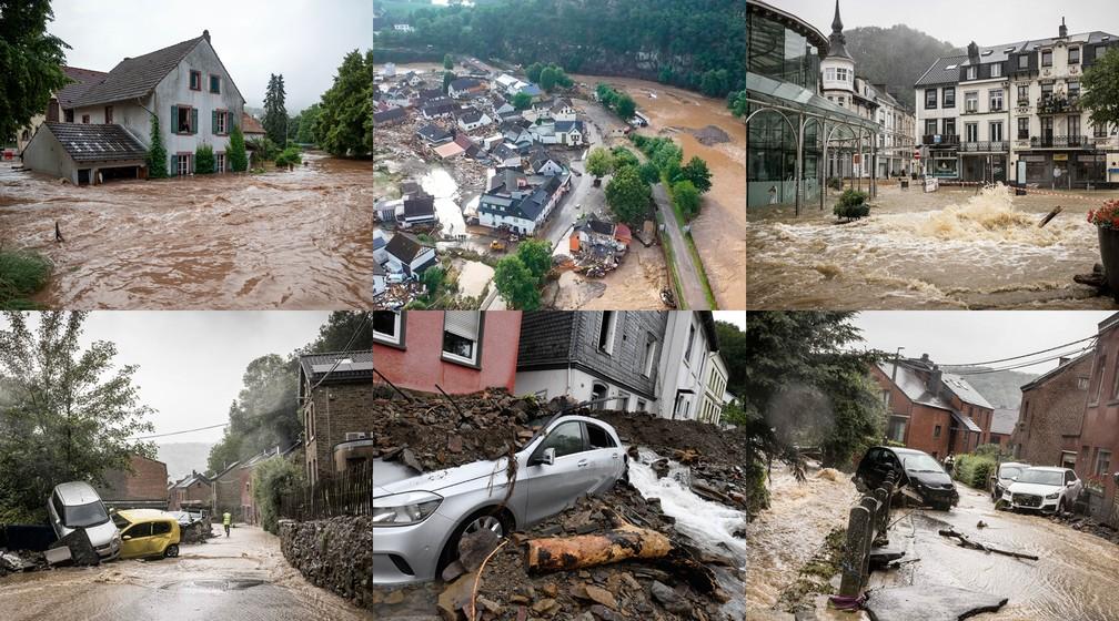 Fotos das consequências das chuvas e inundações na Alemanha e na Bélgica — Foto: Montagem com fotos da AP