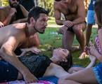João Vicente de Castro, Alinne Moraes e Clara Galinari gravam 'Espelho da vida' | Globo/ Raquel Cunha