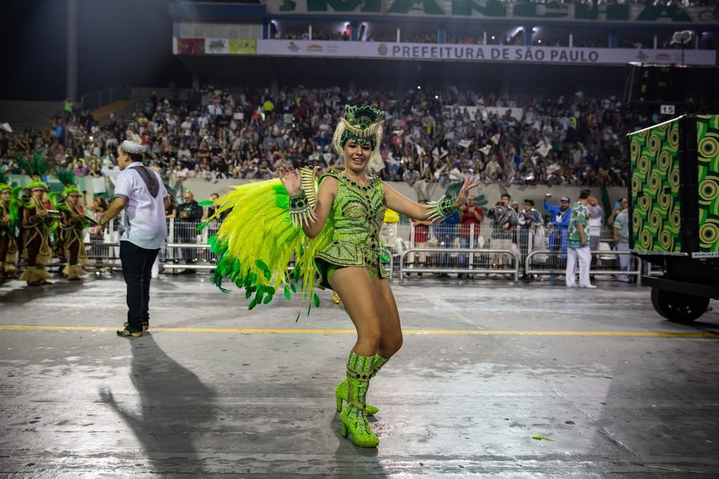 Rainha mirim da bateria da Mancha Verde, Duda Serdan — Foto: Fabio Tito/G1