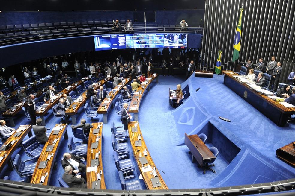 O plenário do Senado durante a sessão desta terça-feira (20) — Foto: Jonas Pereira/Agência Senado