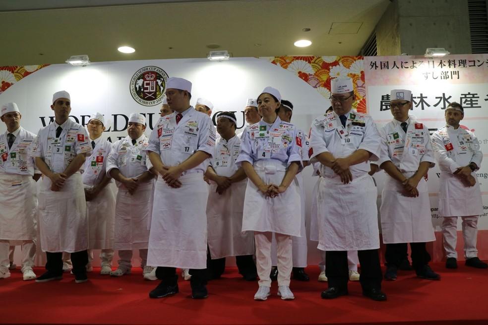 Sandra Mari Saito participou de competição com chefs de outras 14 países — Foto: Arquivo Pessoal/Sandra Mari Saito