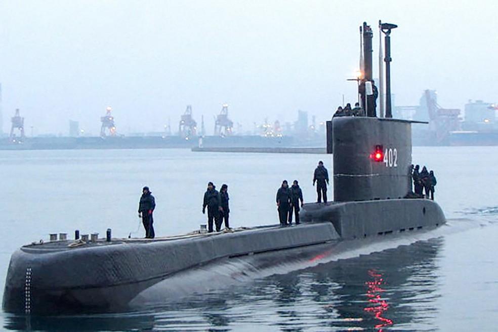 Foto de arquivo do submarino da Marinha da Indonésia que desapareceu nesta quarta-feira (21), em Bali. — Foto: Handout/INDONESIA MILITARY/AFP