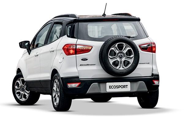 Comparativo: O novo Renault Duster encara seu rival histórico Ford Ecosport (na foto), além dos três modelos mais vendidos: Renegade, Creta e Kicks (Foto: Divulgação)