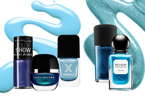 Right Wave, Maybelline (R$ 11,90); Blue Velvet, Marc Jacobs (R$ 75); Haute Octane, MAC (R$ 39); Surf Spray, Revlon Parfumerie (R$ 29)