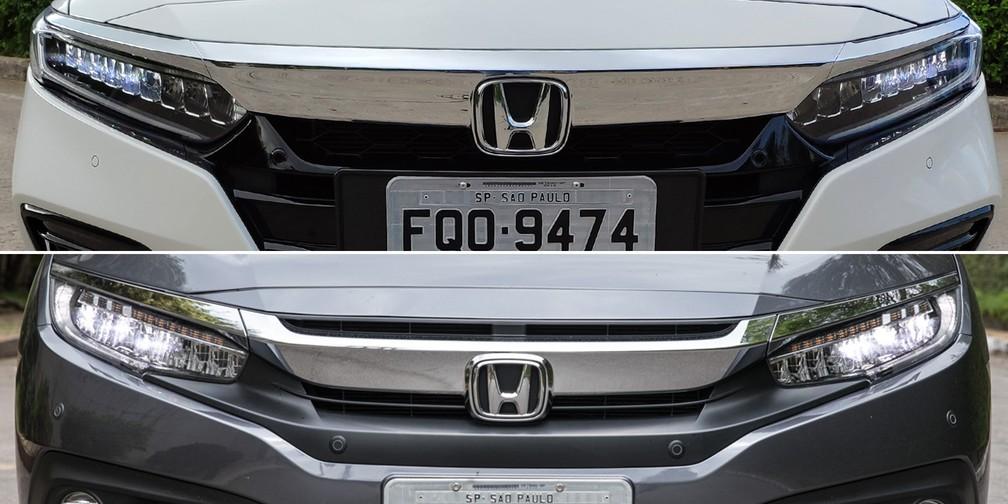 Comparativo da dianteira dos Honda Accord (acima) e Civic — Foto: André Paixão e Marcelo Brandt/G1