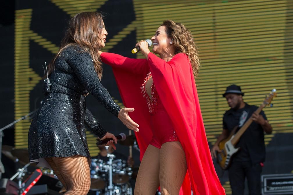 Ivete Sangalo recebe Daniela Mercury em show no Rock in Rio Lisboa (Foto: Divulgação )