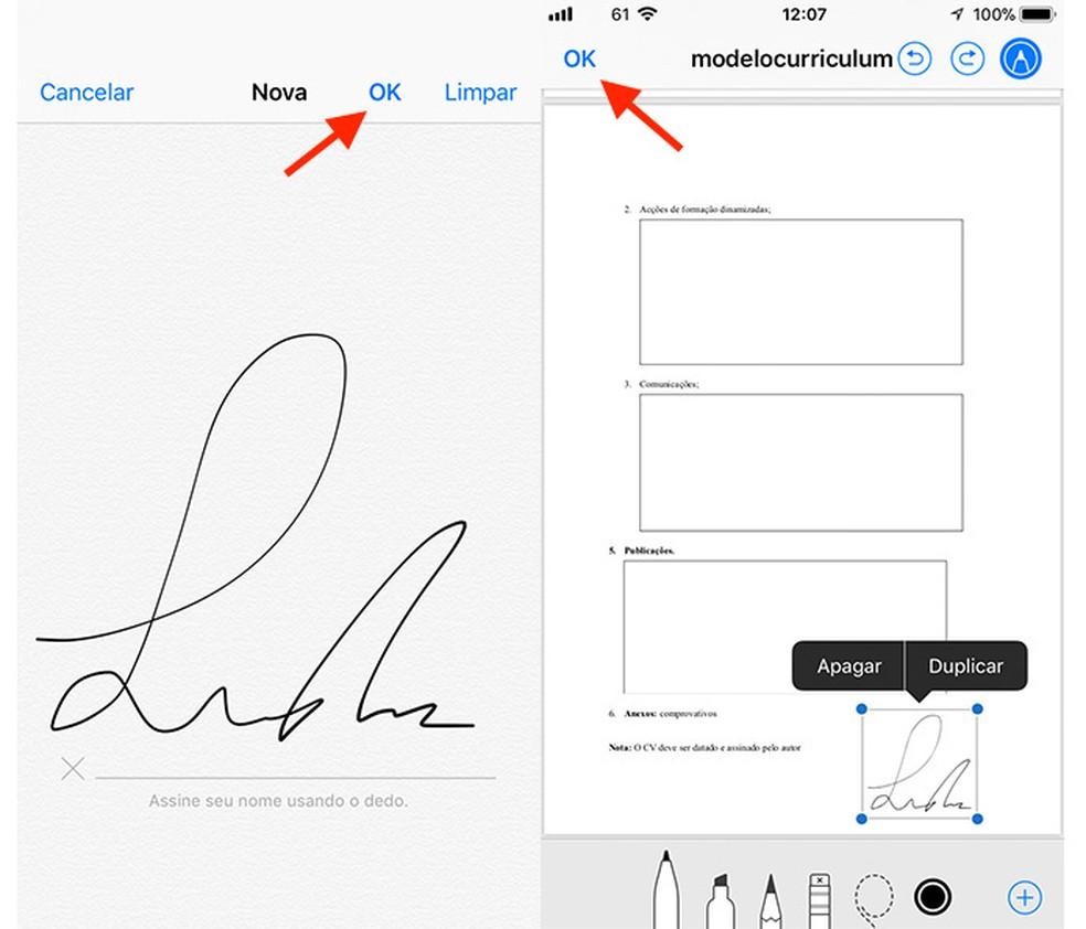 Ação para criar e salvar uma assinatura em um documento do app Arquivos para iPhone (Foto: Reprodução/Marvin Costa)