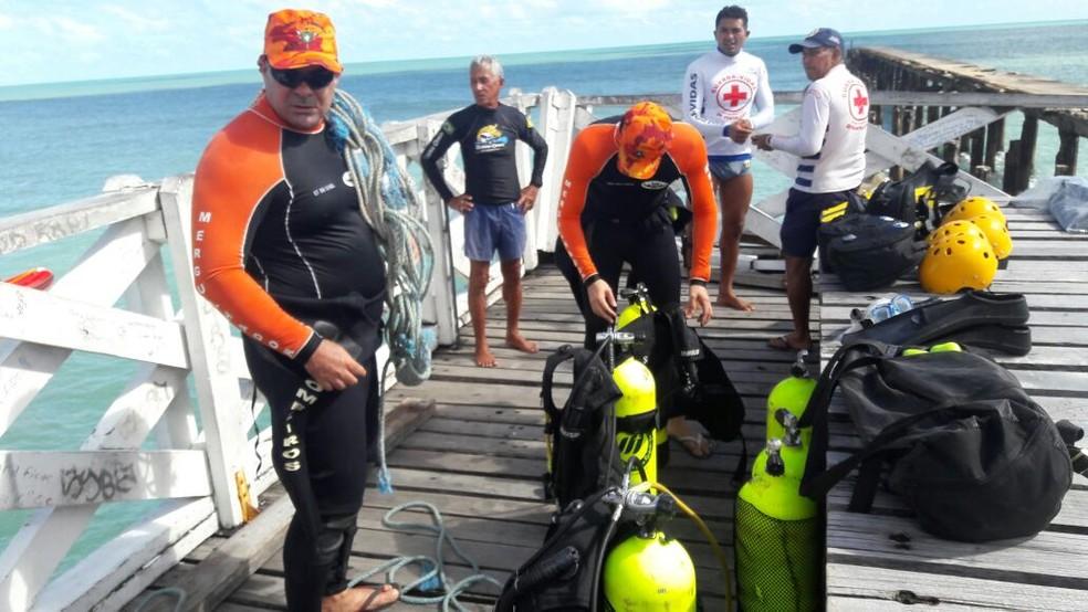 Equipe de mergulho do Núcleo de Busca e Salvamento do Corpo de Bombeiros Militar do Ceará.  (Foto: CBMCE/Divulgação)