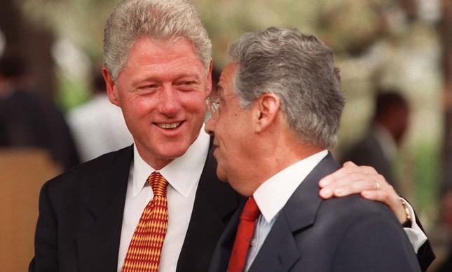 Bill Clinton com Fernando Henrique Cardoso no Palácio da Alvorada, em 1997