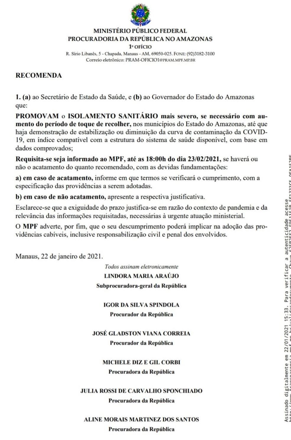 Ofício divulgado pelo MPF  — Foto: Reprodução