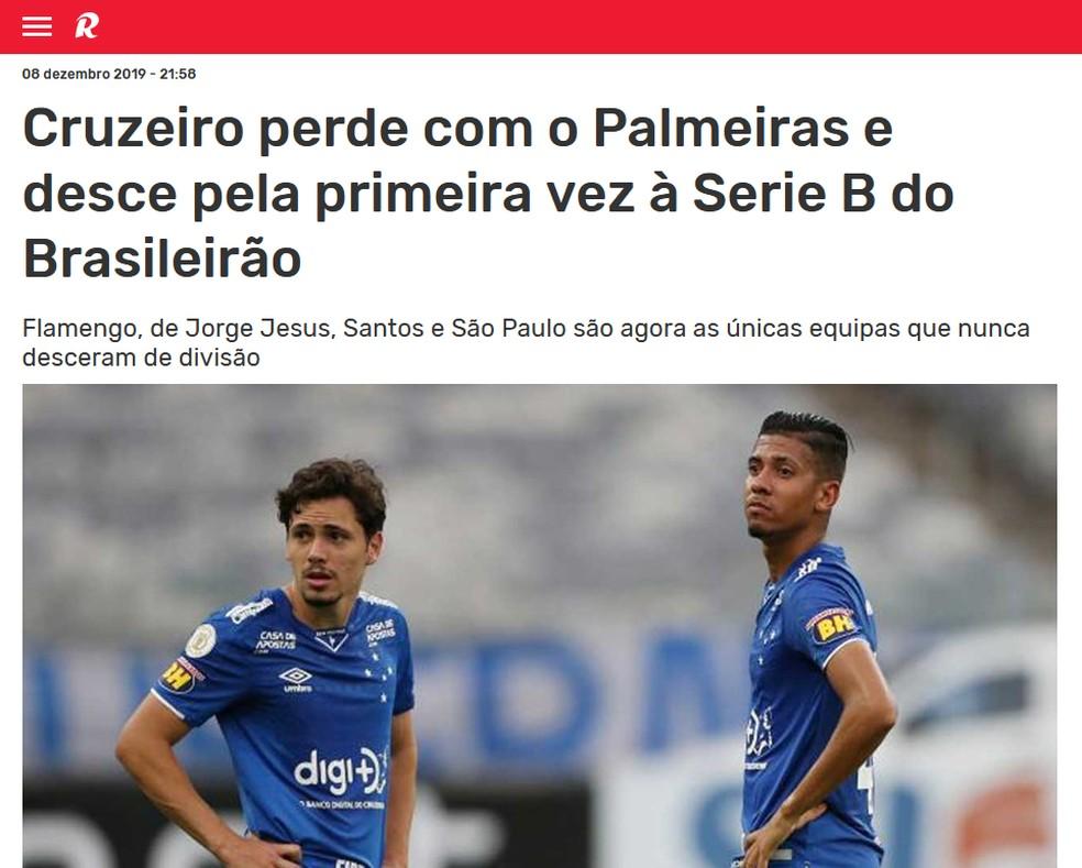 Record, de Portugal, repercute rebaixamento do Cruzeiro — Foto: Reprodução