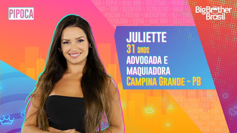 Juliette é participante do 'BBB21' — Foto: Divulgação/Globo