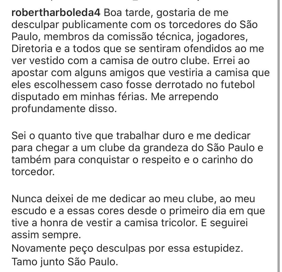 Arboleda pede desculpas ao São Paulo — Foto: Reprodução