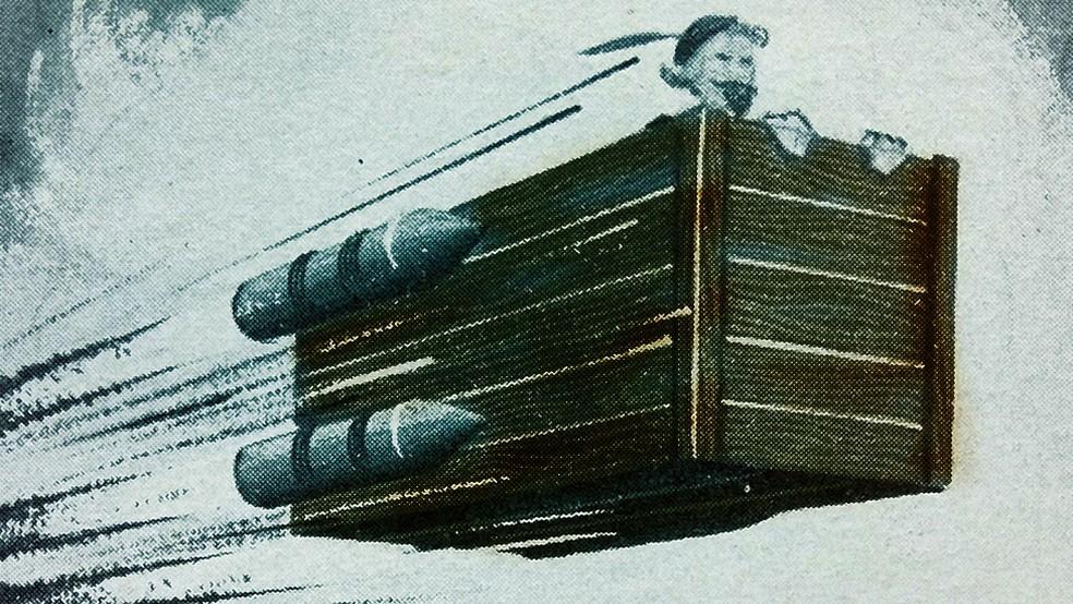 Em um modelo da nave imaginada por Cyrano de Bergerac, foguetes que são acesos em diferentes estágios e a impulsionam — Foto: Getty Images
