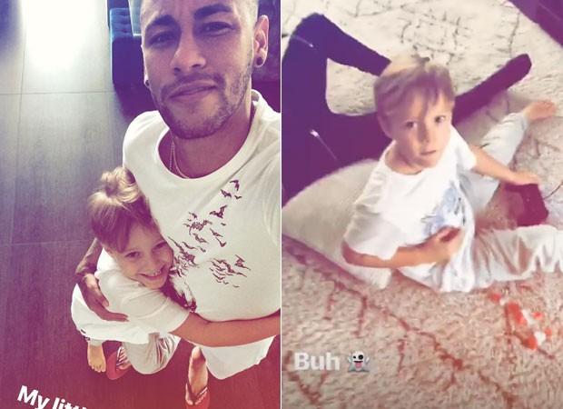 Neymar e Davi Lucca (Foto: Reprodução)