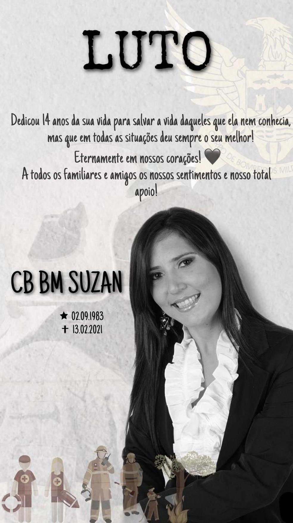 Cabo do Corpo de Bombeiro de Alagoas, Suzan Barros, morre de Covid-19 — Foto: Divulgação/Corpo de Bombeiros de Alagoas