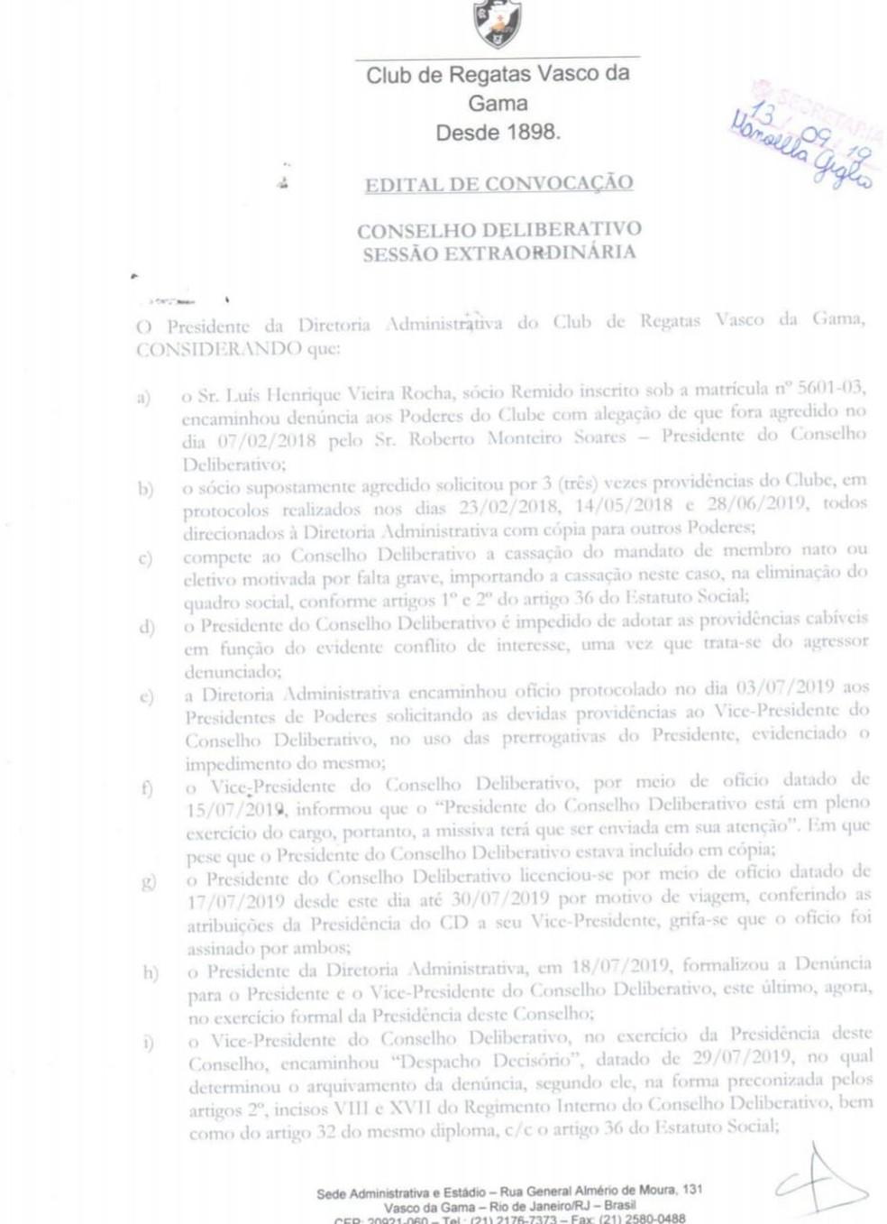 Convocação do Conselho Deliberativo do Vasco — Foto: GloboEsporte.com