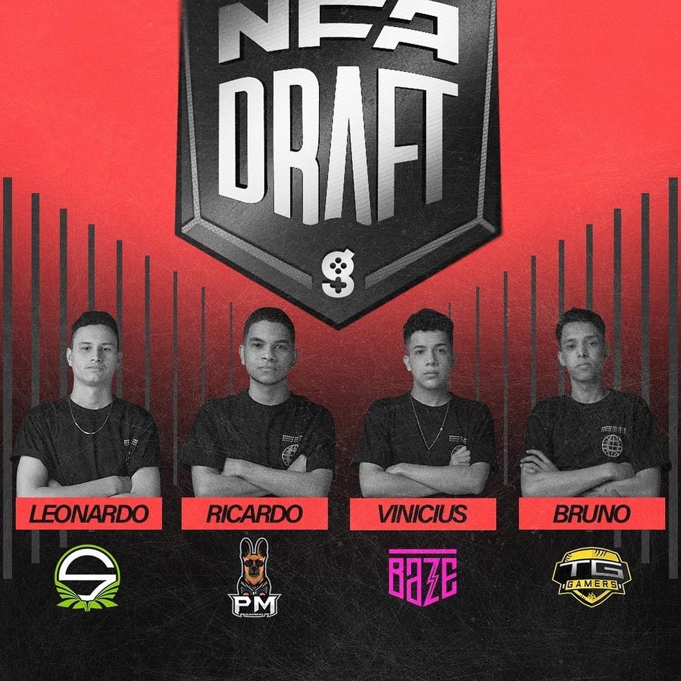 Jogadores da NFA Draft — Foto: divulgação/Liga NFA