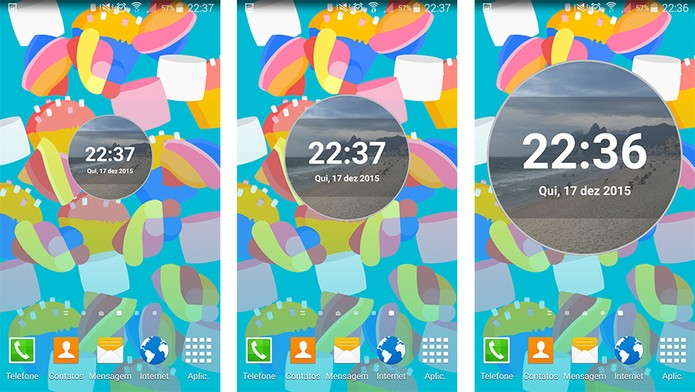 Relógio personalizado pode ser adicionado em widgets pequenos, médios ou grandes (Foto: Reprodução/Barbara Mannara)