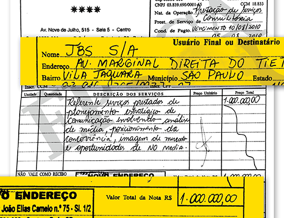 Nota fiscal de R$ 1 milhão da Pública Comunicações para a JBS (Foto: Reprodução)