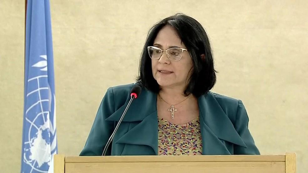 Damares Alves em discurso na ONU — Foto: Reprodução/TV Globo
