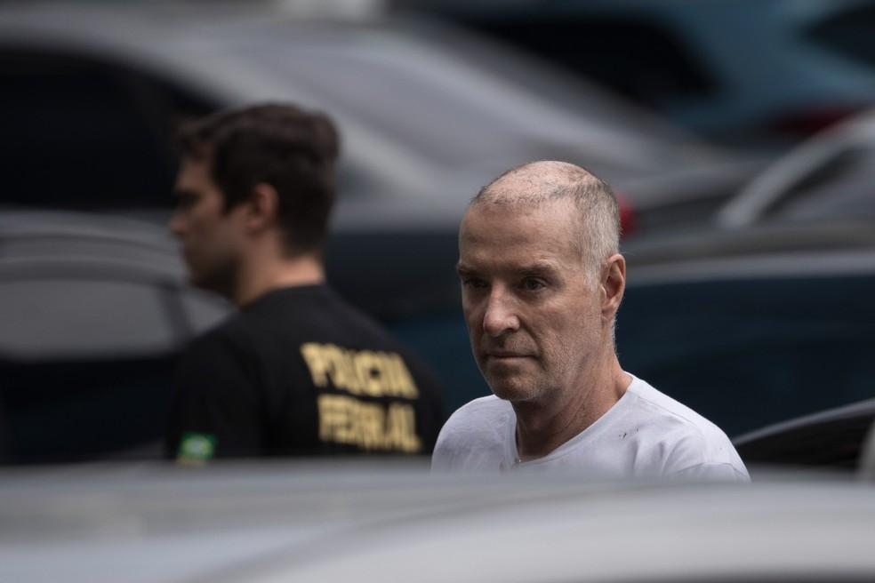 O empresário Eike Batista chega à sede da Polícia Federal, no Rio de Janeiro, em 31 de janeiro de 2017 (Foto: Felipe Dana/AP)