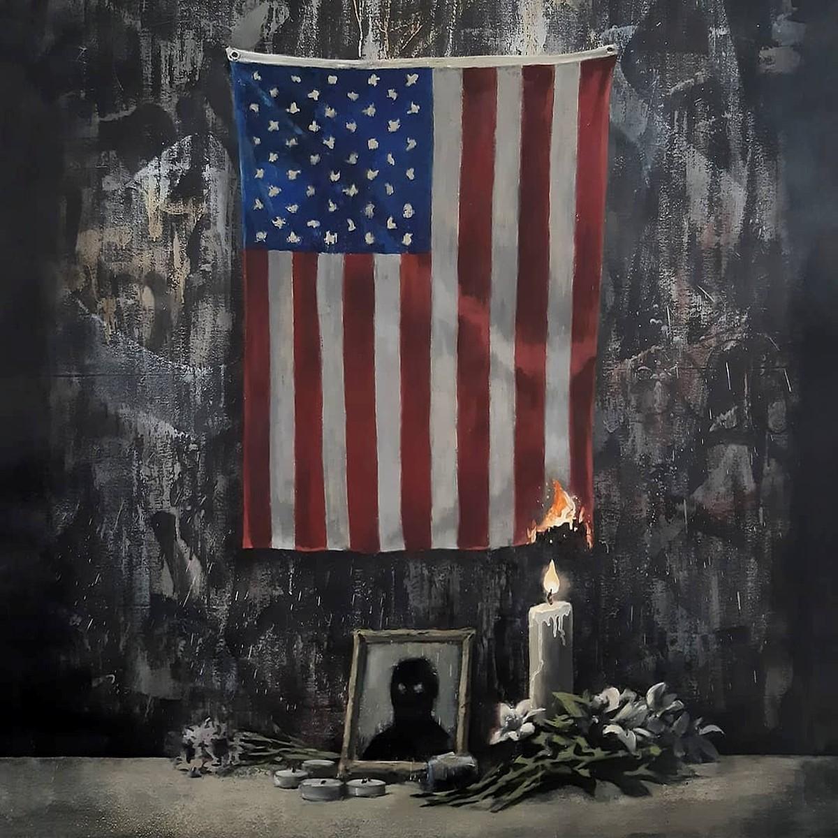 Banksy pinta bandeira dos Estados Unidos em chamas em tributo a George Floyd | Pop & Arte