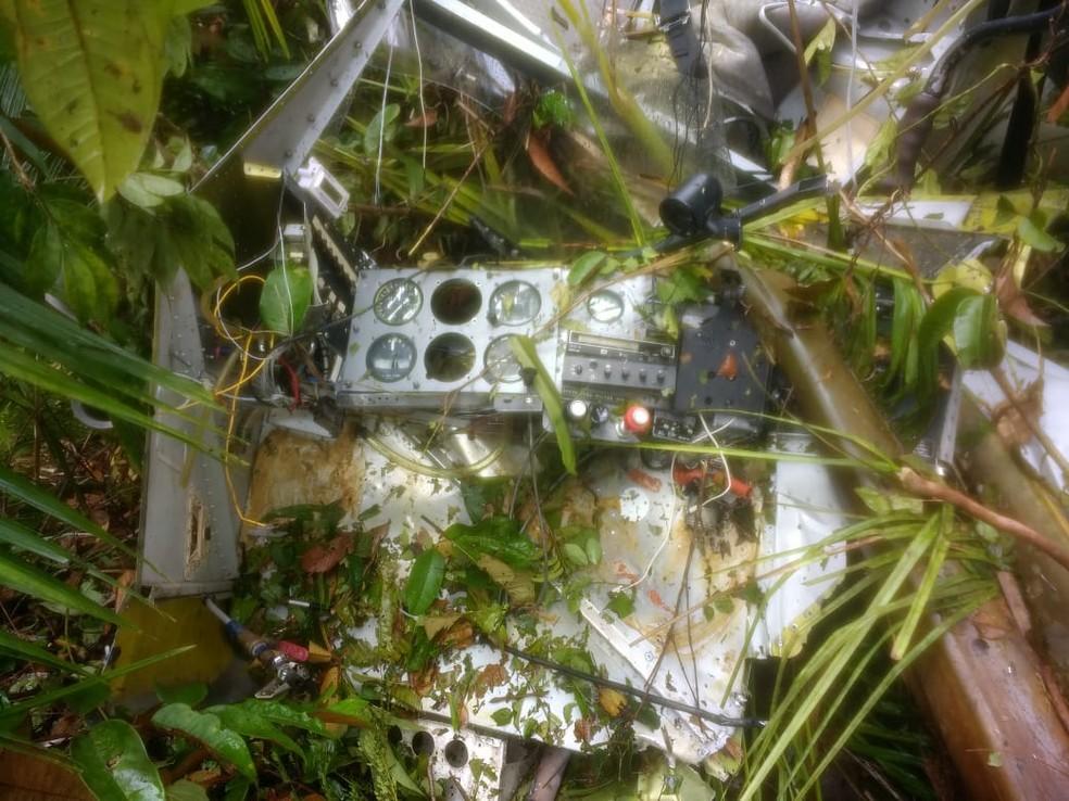Avião caiu as 7h desta segunda-feira (30) (Foto: Divulgação/PM)
