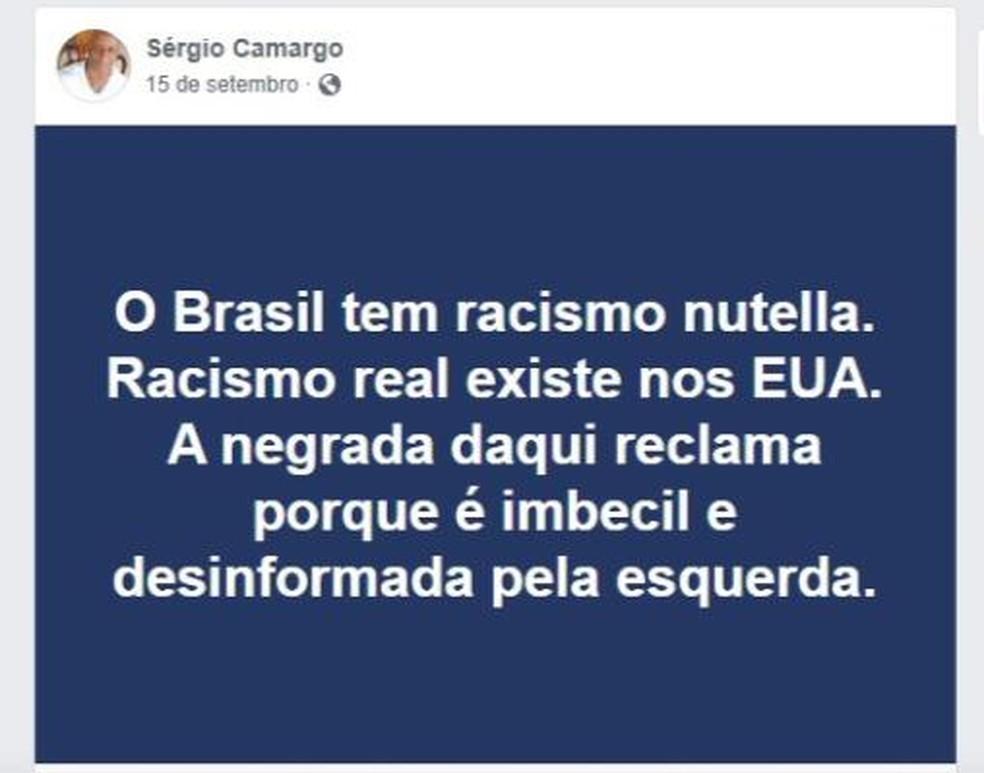 Declaração do novo presidente da Fundação Cultural Palmares, Sérgio Nascimento de Camargo, publicada em rede social — Foto: Reprodução