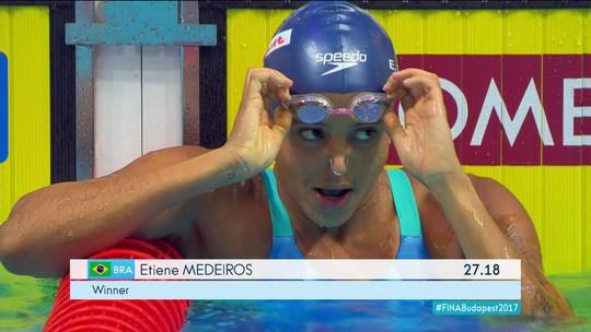 Com melhor tempo da vida, Etiene flerta com recorde mundial e vai à final dos 50m costas