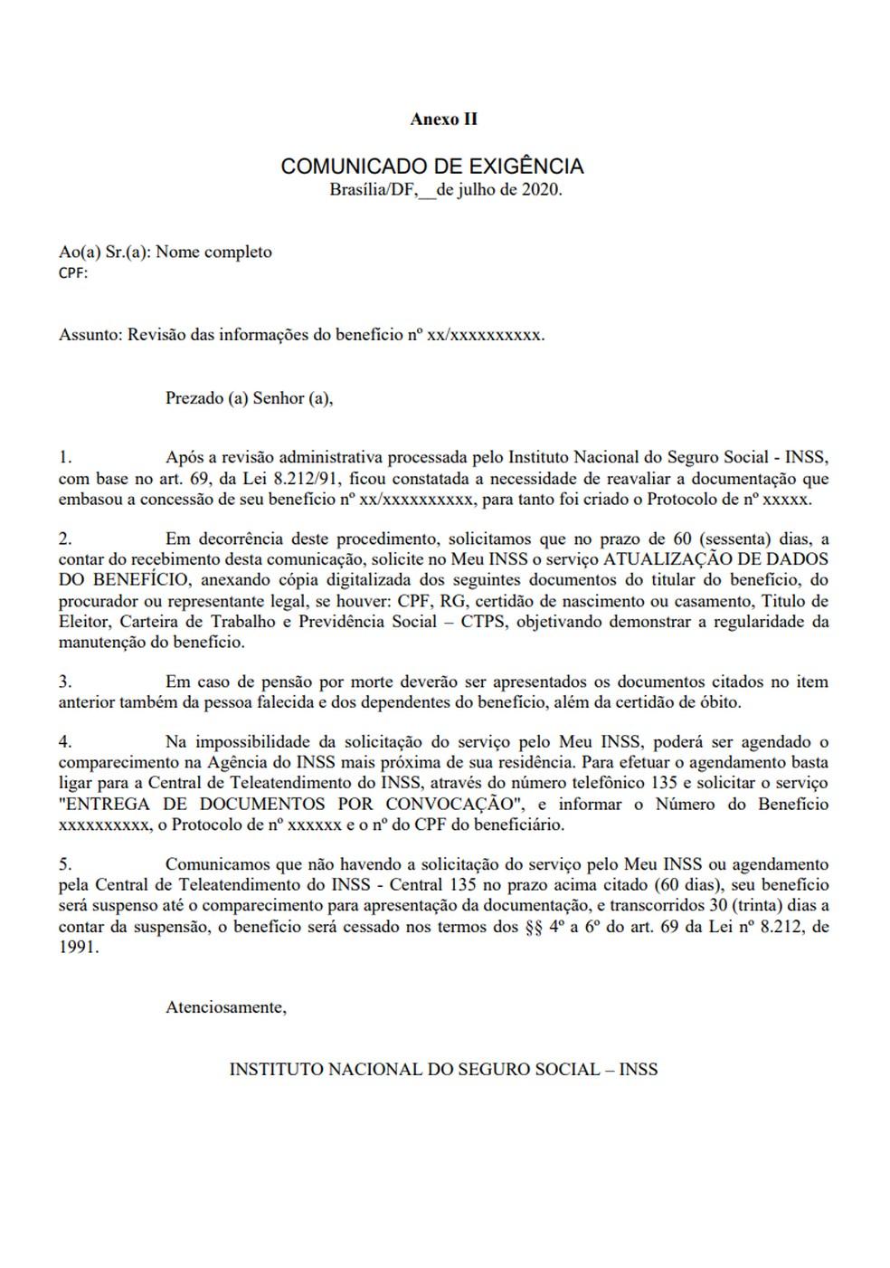 Modelo de carta de comunicação de exigência — Foto: Reprodução