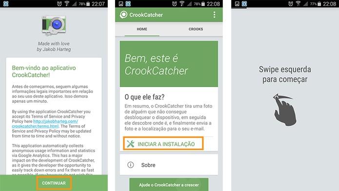 Inicie as configurações do CroockCatcher no Android (Foto: Reprodução/Barbara Mannara)
