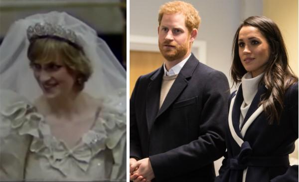 Lady Di e o Príncipe Harry com sua noiva, a atriz Meghan Markle (Foto: Reprodução/Getty Images)