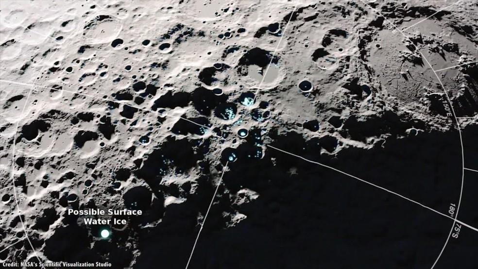 Cientistas já sabem que existe água congelada tanto na Lua, como em Marte — Foto: Nasa