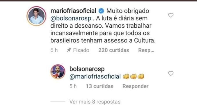 Comentário do secretário especial de Cultura, Mário Frias, em publicação do deputado federal Eduardo Bolsonaro (PSL-SP)