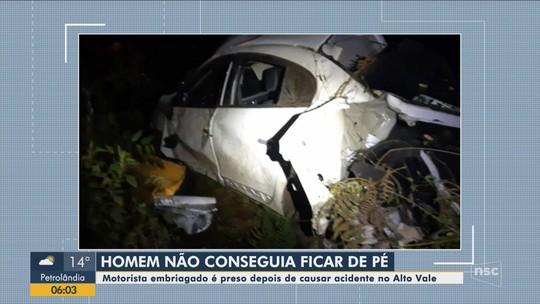 Acidente provocado por motorista embriagado deixa mulher ferida em Rio do Sul