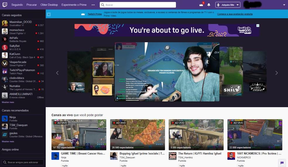 Interface da Twitch para usuários logados é mais completa  — Foto: Reprodução/Bruna Telles