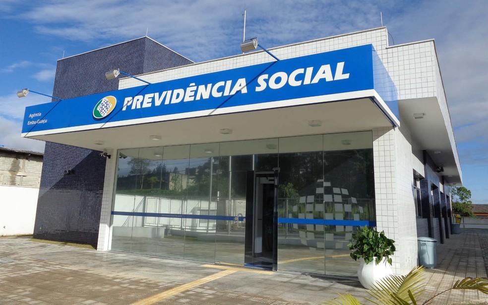 Fachada de agência do INSS em Embu-Guaçu, em São Paulo (Foto: Previdência Social/Divulgação)