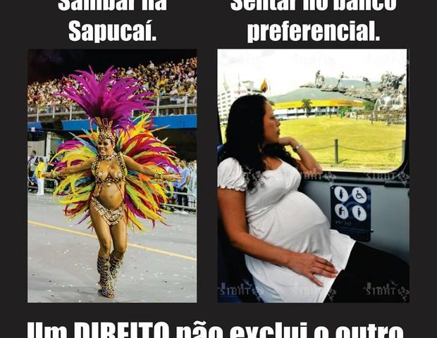 Montagem com a passista Fabiana Vilela circulou pelas redes sociais  (Foto: Reprodução Facebook)